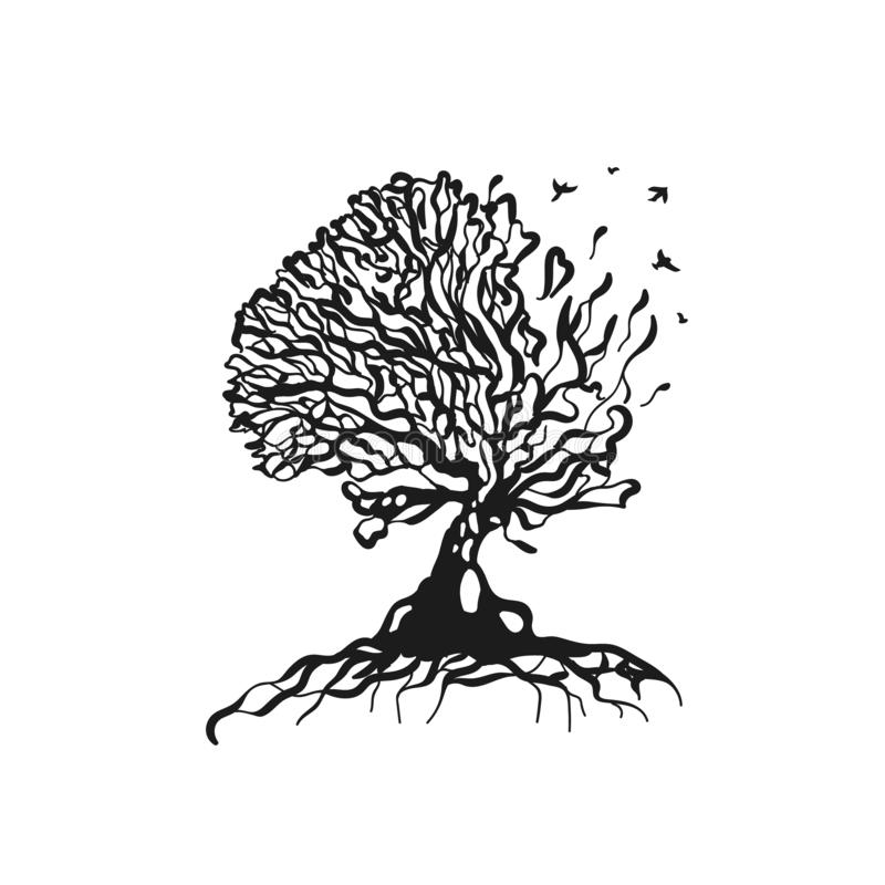 Illustration abstraite de logo de silhoutte d'arbre Vecteur d'isolement illustration stock