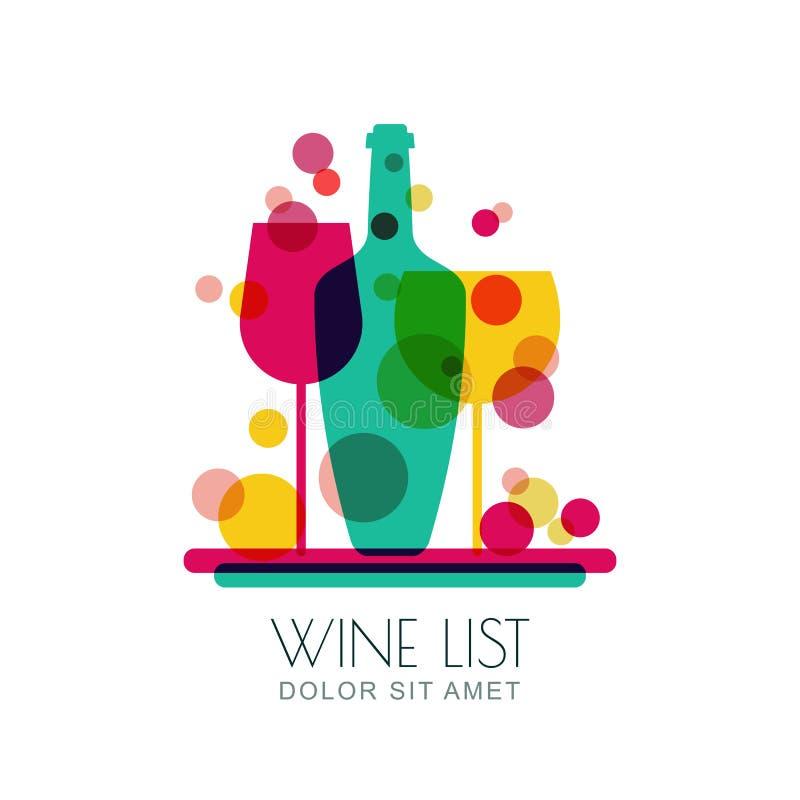 Illustration abstraite de plateau avec la bouteille de vin et deux verres illustration stock