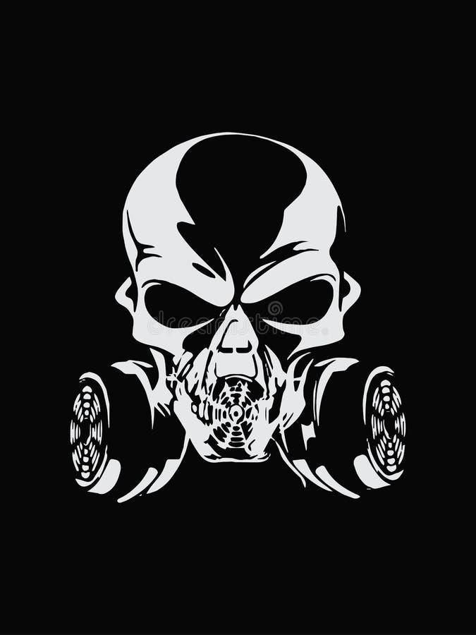 Illustration abstraite de signe de silhouette de masque de gaz d'isolement sur le fond noir Conception de vecteur illustration de vecteur