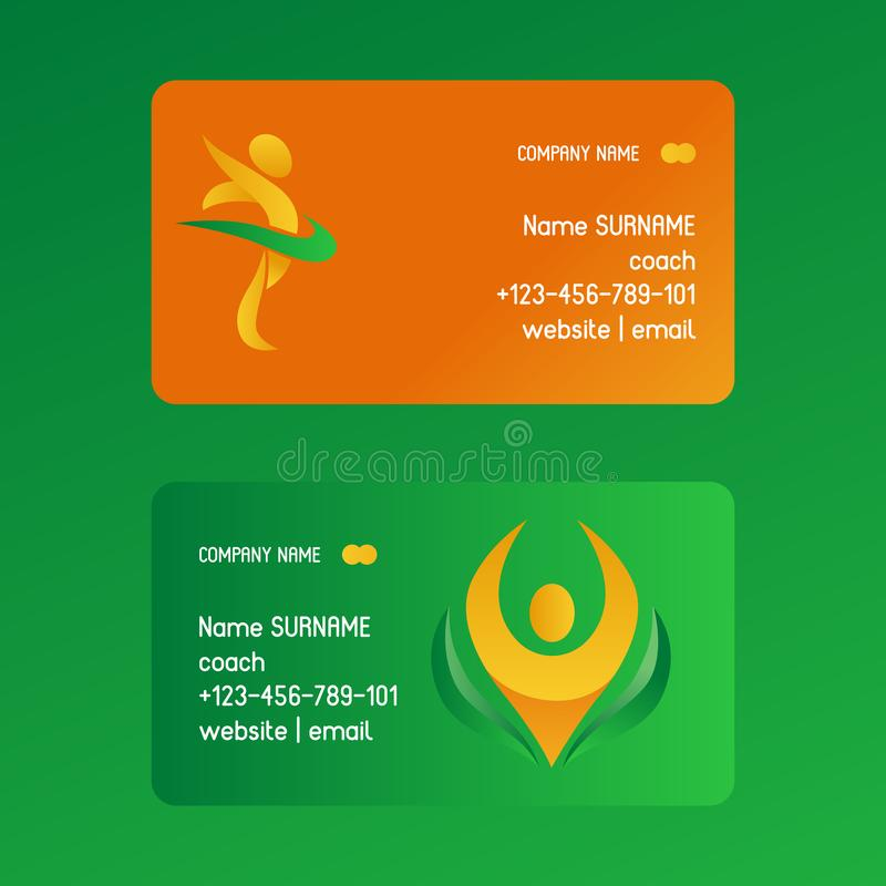 Illustration abstraite de vecteur de cartes de visite professionnelle de visite de personnes L'information de contact de l'entraî illustration libre de droits