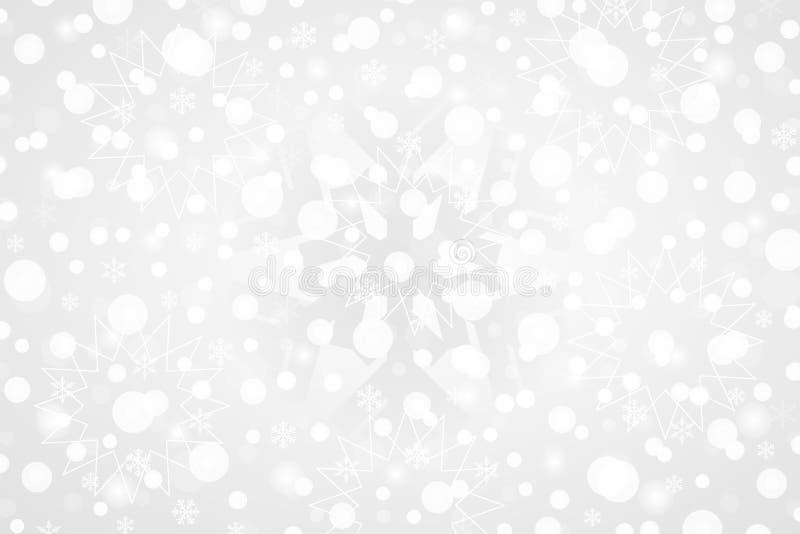 Illustration abstraite de vecteur de Joyeux Noël et de bonne année Fond décoratif de gradient de blanc gris avec des flocons de n illustration stock