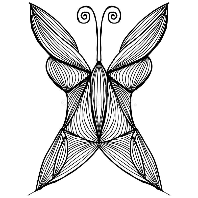 Illustration abstraite de vecteur de papillon tir? par la main d'isolement sur le fond blanc Dessin d'encre, style graphique Papi illustration libre de droits