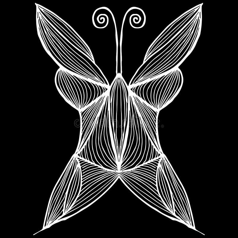 Illustration abstraite de vecteur de papillon tir? par la main d'isolement sur le fond noir Dessin d'encre, style graphique Papil illustration libre de droits