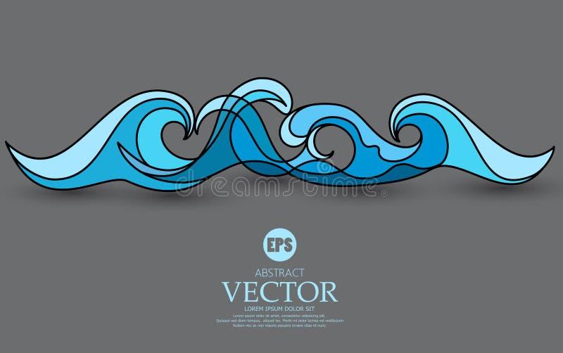 Illustration abstraite de vecteur Vague bleue sur un fond gris EL illustration de vecteur