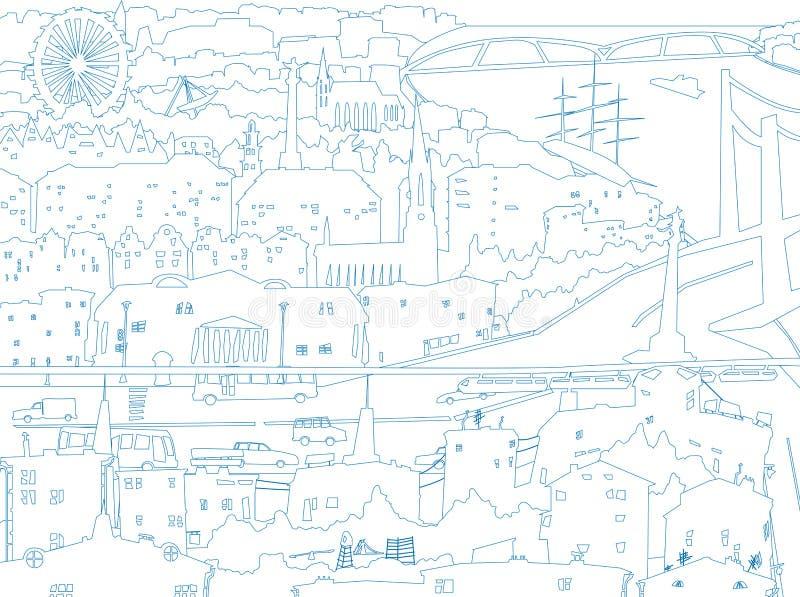 Illustration abstraite de ville du centre dans la ligne étable illustration libre de droits