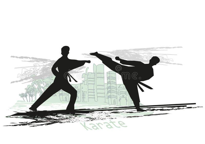Illustration abstraite des combattants de karaté illustration libre de droits