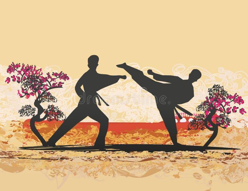 Illustration abstraite des combattants de karat? illustration de vecteur