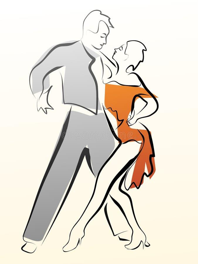 Illustration abstraite des couples de danse faits dans la ligne illustration libre de droits