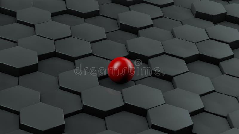 Illustration abstraite des hexagones noirs de taille différente et de boule rouge se situant au centre L'idée de l'unicité rendu  illustration de vecteur