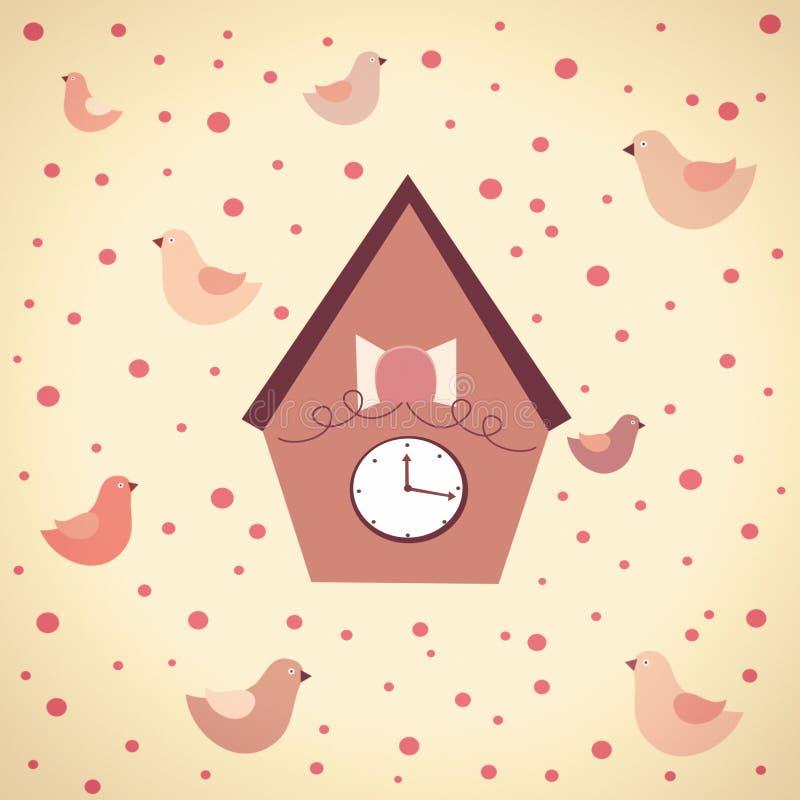 Illustration abstraite des horloges avec des oiseaux illustration stock