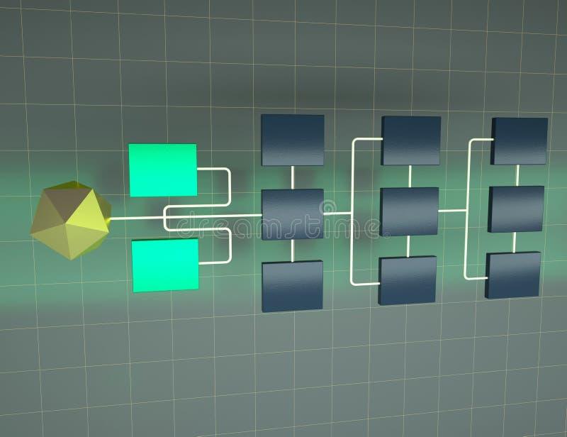 Illustration abstraite du réseau 3d de connexion Structure de topologie de réseau Concept de hi?rarchie illustration libre de droits