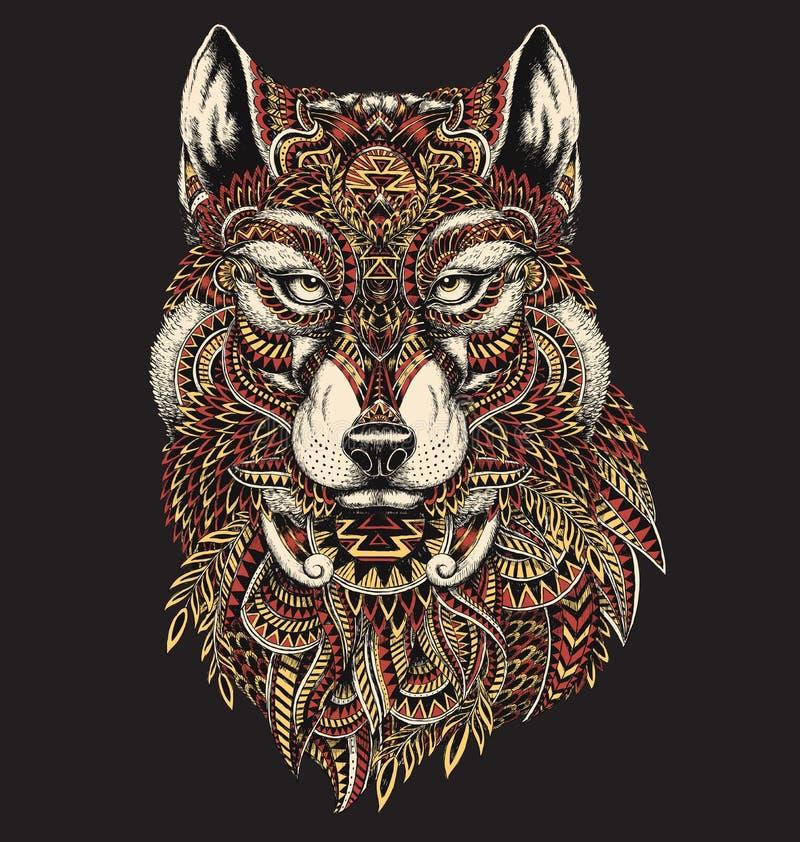 Illustration abstraite fortement détaillée de loup en couleurs illustration stock