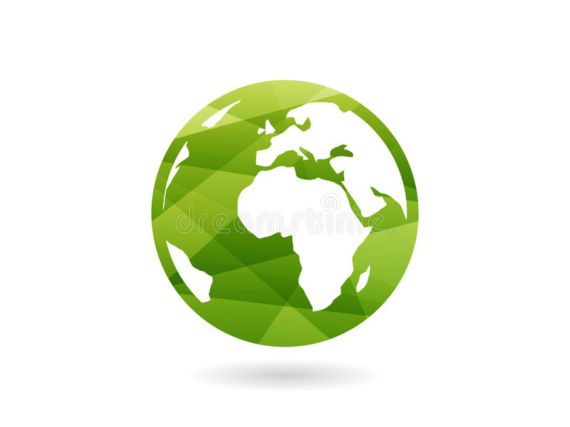 Illustration abstraite géométrique colorée de concept de calibre de graphique de vecteur de sphère de globe de la terre d'isoleme illustration stock
