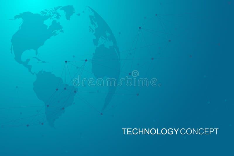 Illustration abstraite géométrique simple de vecteur Fond de technologie avec la ligne et les points reliés Technologique moderne illustration de vecteur