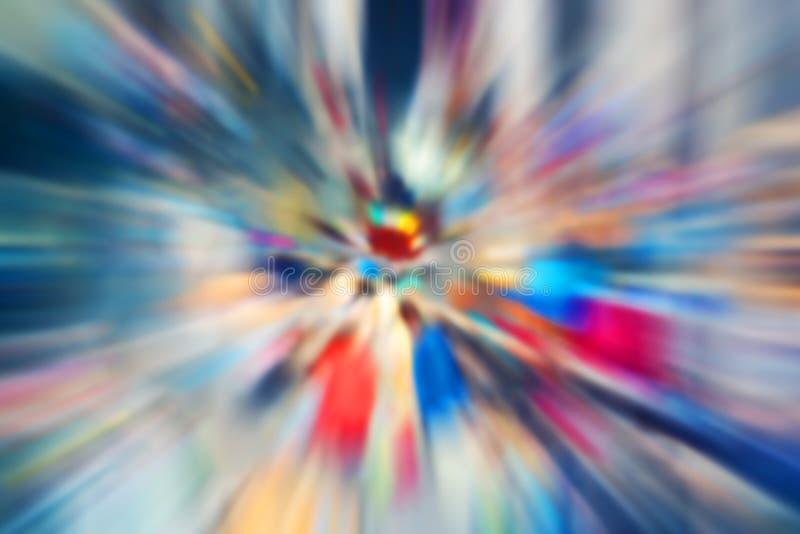 Illustration abstraite multicolore Tache floue radiale dans des tons bleu-pourpres Explosion avec des éclats de vol Mouvement ave photographie stock