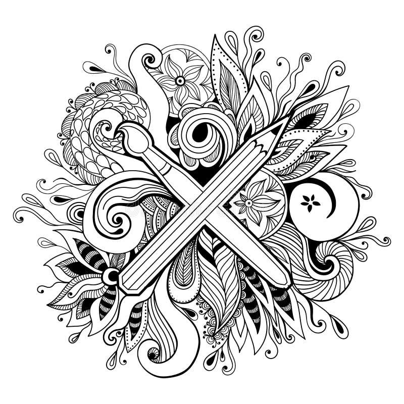 Illustration abstraite tirée par la main noire et blanche de vecteur de kaléidoscope Zentangle ou page adulte de coloration illustration stock