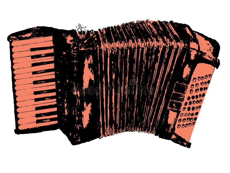 Grunge Retro Accordion. Illustration of an accordion vintage music instrument, grunge background royalty free illustration