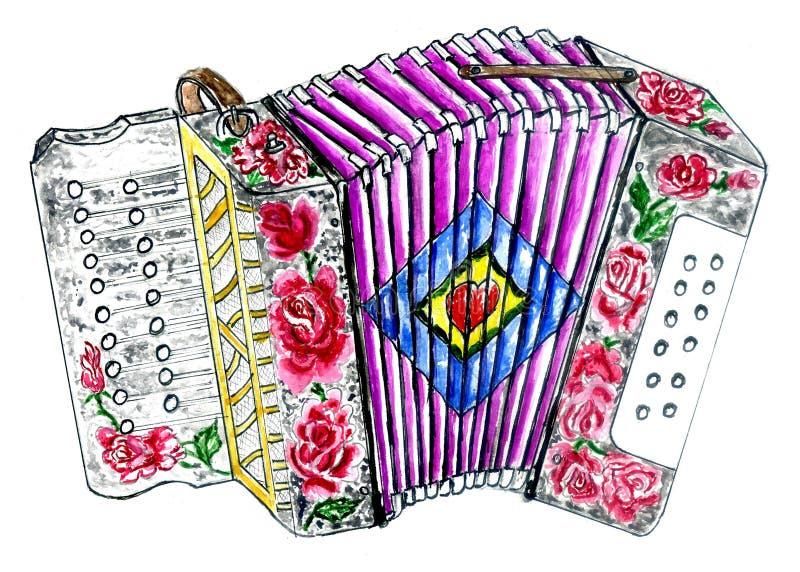 Retro Accordion Art. Illustration of an accordion vintage music instrument, hand drawn watercolor art, grunge background vector illustration