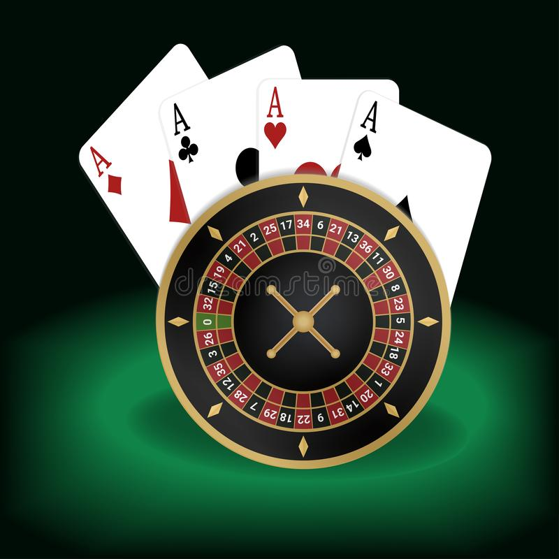Illustration of aces poker and roulette vector illustration