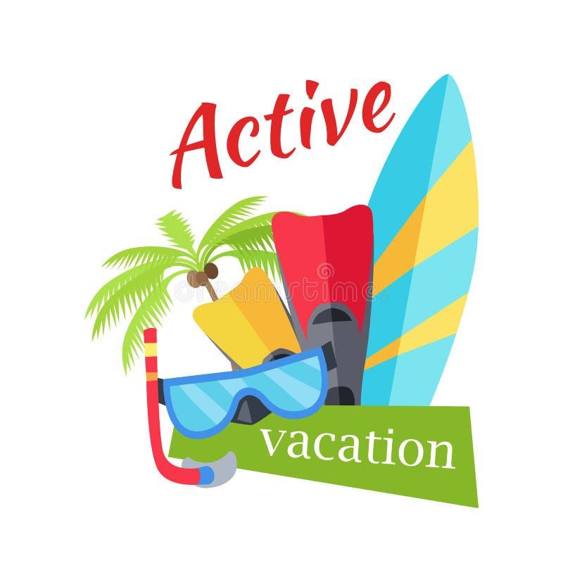 Illustration active de concept de vacances d'été illustration stock