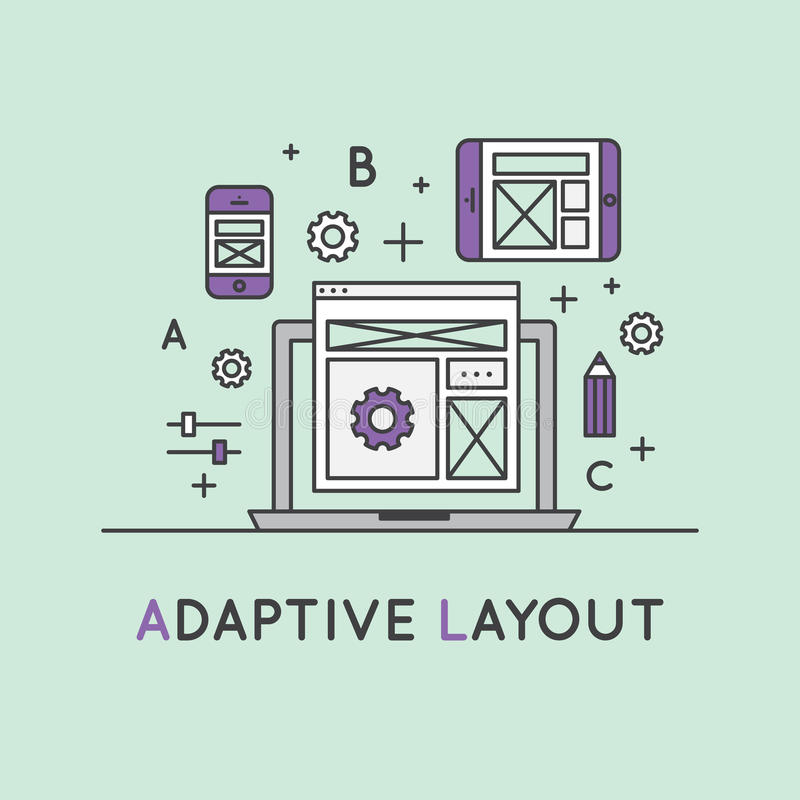 Illustration of Adaptive Layout Responsive User Interface Web Design. Vector Icon Style Illustration of Adaptive Layout Responsive User Interface Web Design royalty free illustration