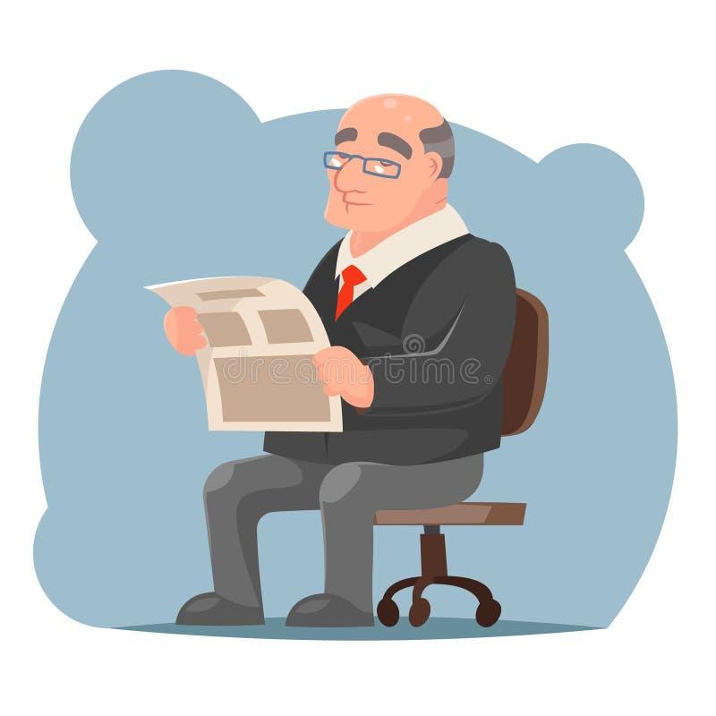 Illustration adulte de vecteur de conception de bande dessinée d'Old Sit Read Newspaper Character Icon d'homme d'affaires rétro illustration de vecteur