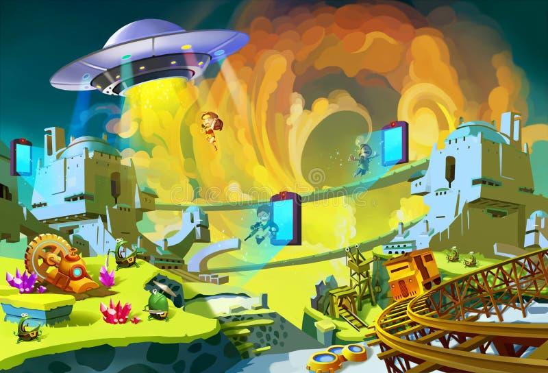 Illustration: The Adventure in the Alien Planet. Sci-Fi, UFO, Chasing, Boy & Girl Heroes, Monster, Portal. vector illustration