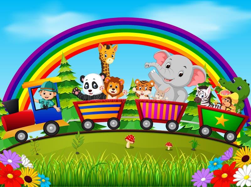 Adventurer and wild animals on the train with rainbow vector illustration