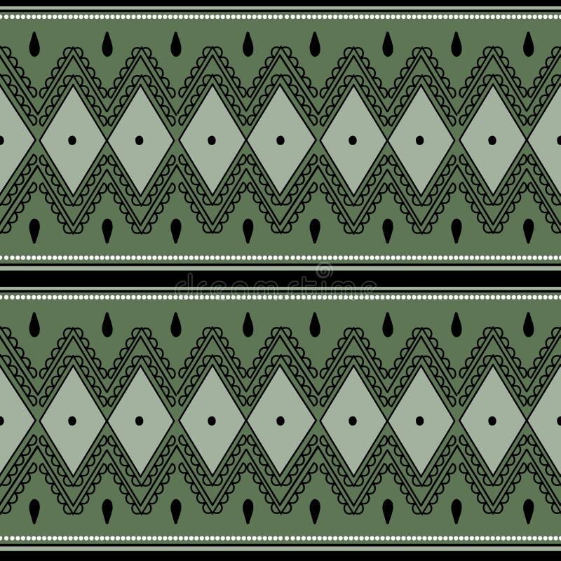 Illustration africaine aztèque tirée par la main tribale de vecteur de diamant de rayures de modèle sans couture ethnique de cru illustration libre de droits