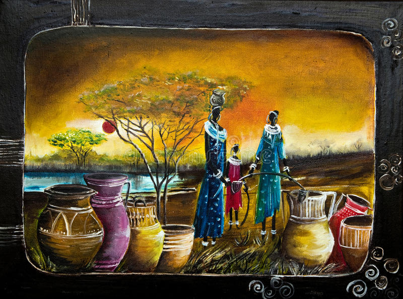 African women oil painting. Oil painting of African women and a child filling large colorful water jugs at sunset with lake stock photos