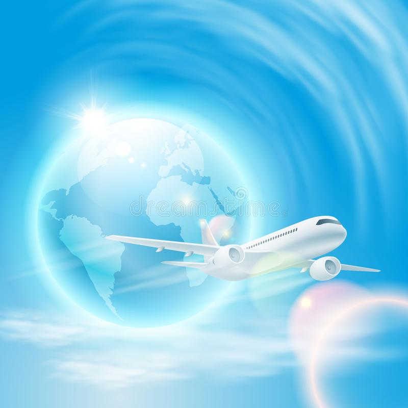 Illustration of airplane in the sky with the globe stock photography