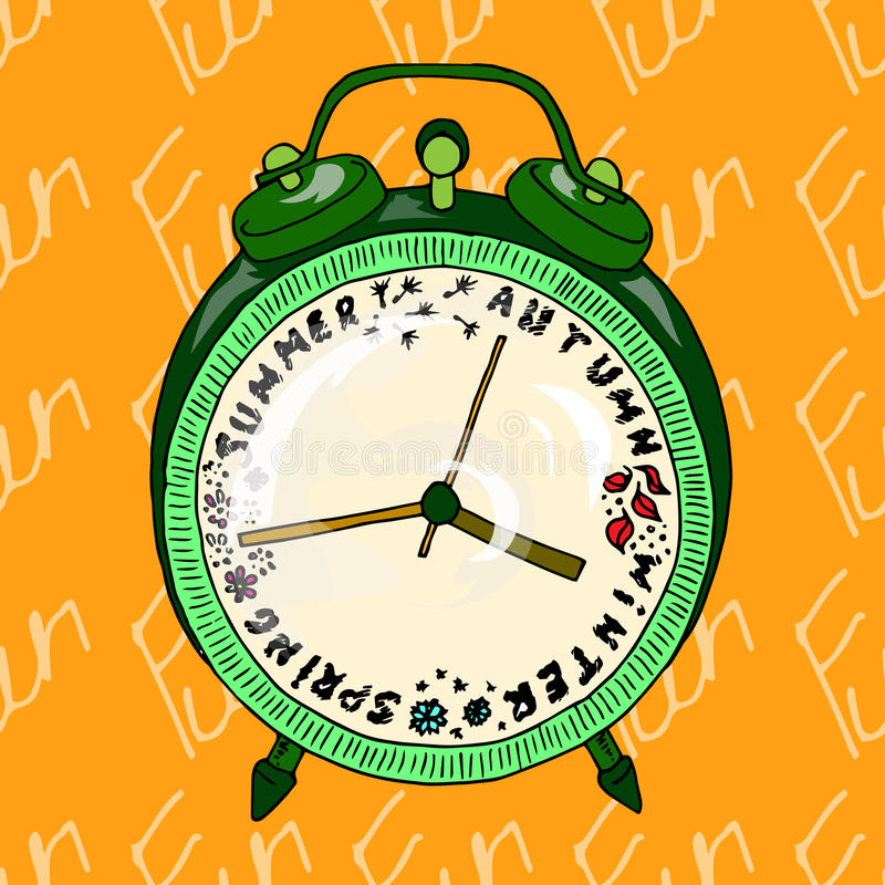 Illustration alarm clock that shows the seasons. Postcard which reminds about the holidays. Seamless pattern. stock illustration