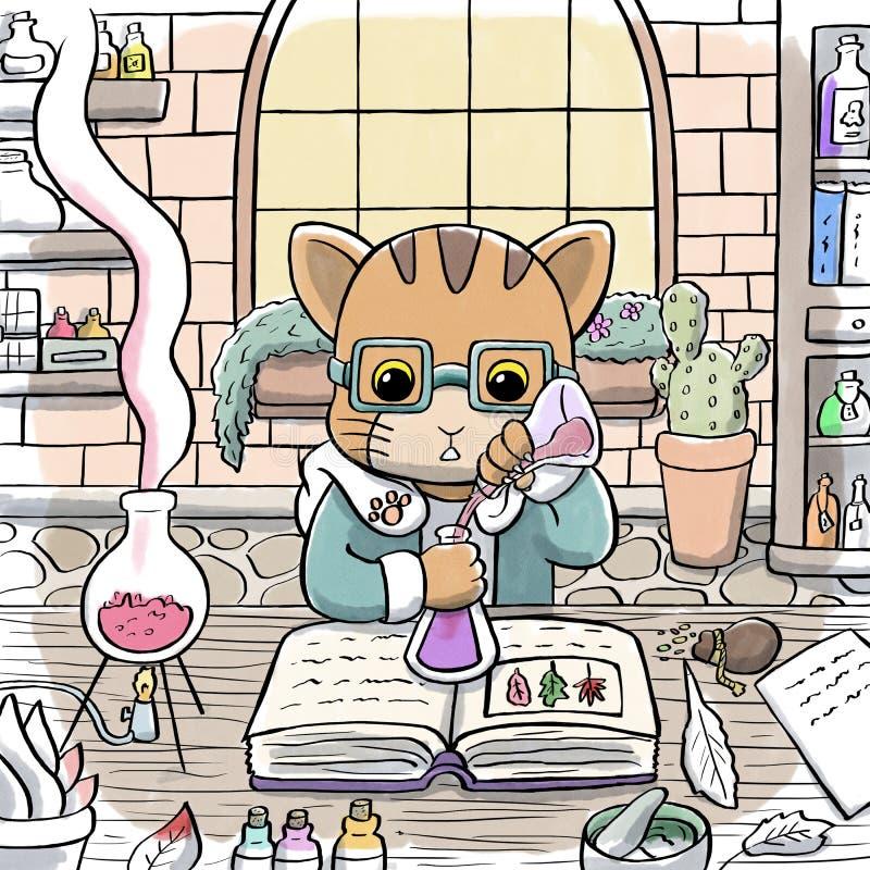 Alchemist Cat Brewing a Potion stock illustration