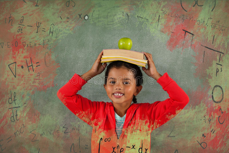 Composite image of illustration of algebraic formulas on chalkboard. Illustration of algebraic formulas on chalkboard against young girl balancing books and vector illustration