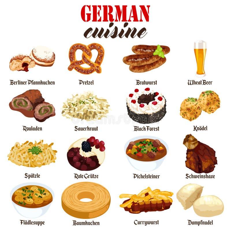Illustration allemande de cuisine de nourriture illustration libre de droits