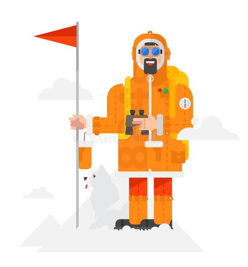 Illustration of a alpinist with a dog on a white background. Man with a flag. Illustration of a man in a flat style. Object vector illustration