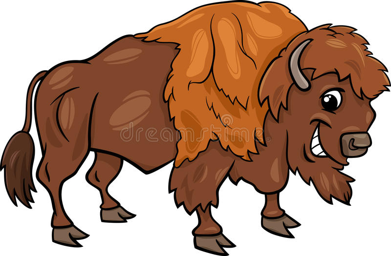Illustration américaine de bande dessinée de buffle de bison illustration libre de droits