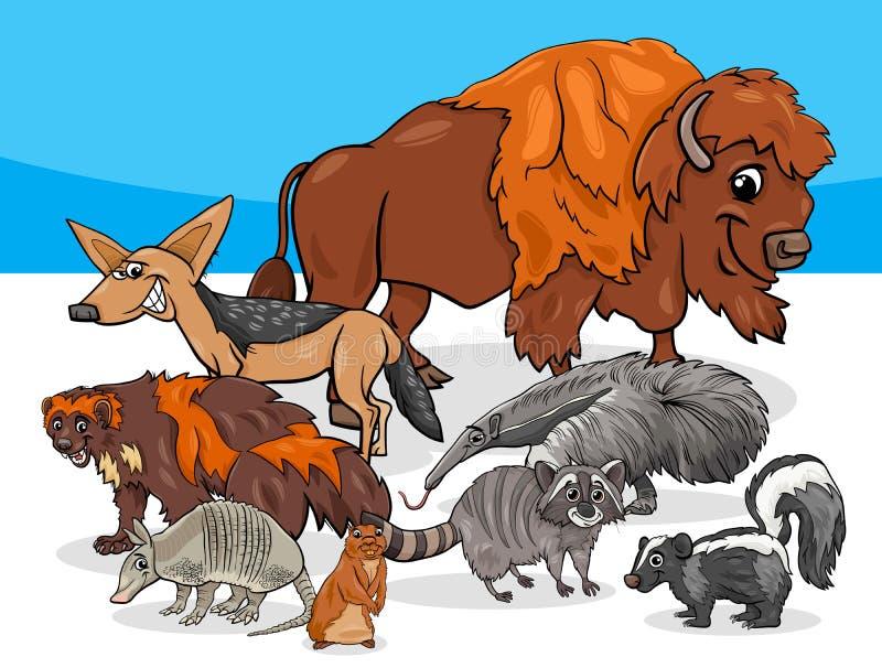 Illustration américaine de bande dessinée de groupe d'animaux illustration de vecteur