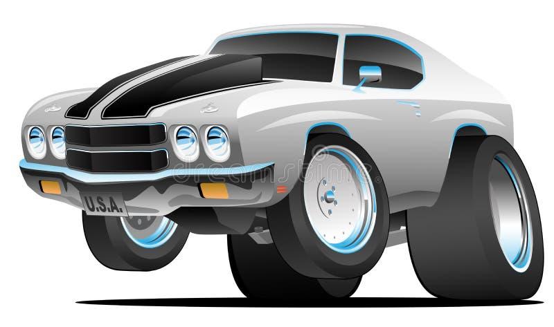 Illustration américaine de vecteur de bande dessinée de voiture de muscle de style classique d'années '70 illustration stock