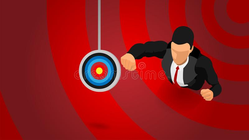 Illustration of an ambitious businessman on a target. The leader tried hard to fly to reach the target. Eps10 illustration file vector illustration
