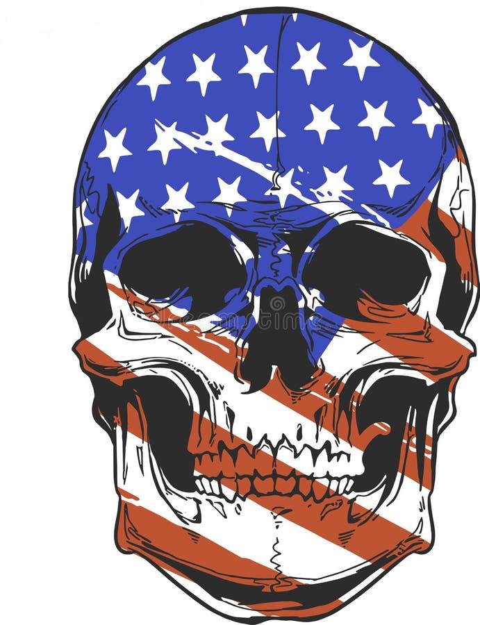 Illustration America Flag painted on a skull stock illustration