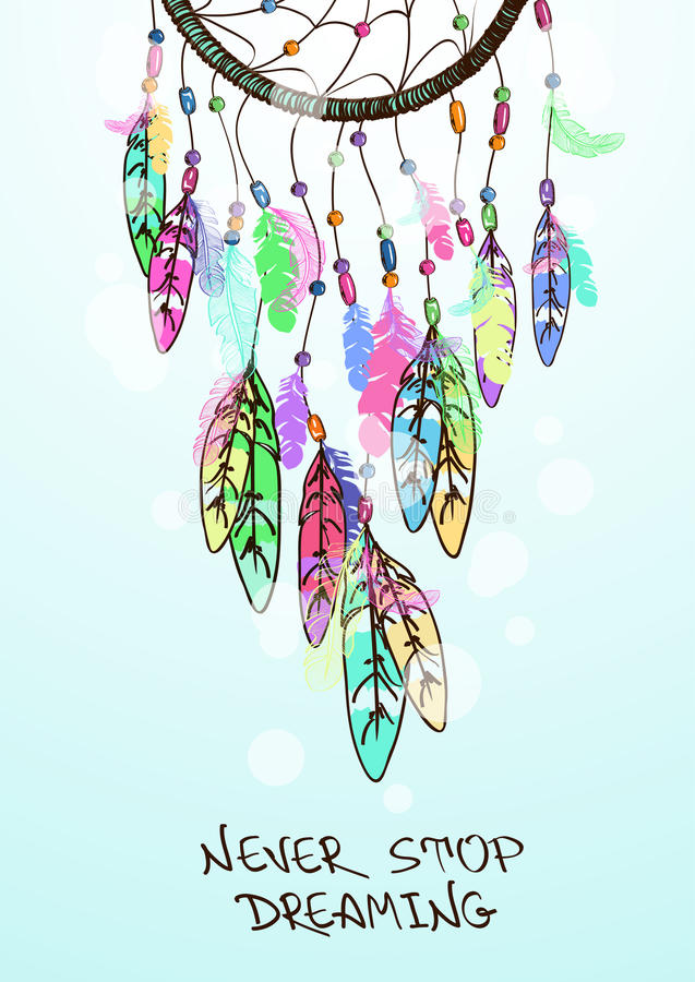 Illustration with American Indians dreamcatcher stock illustration