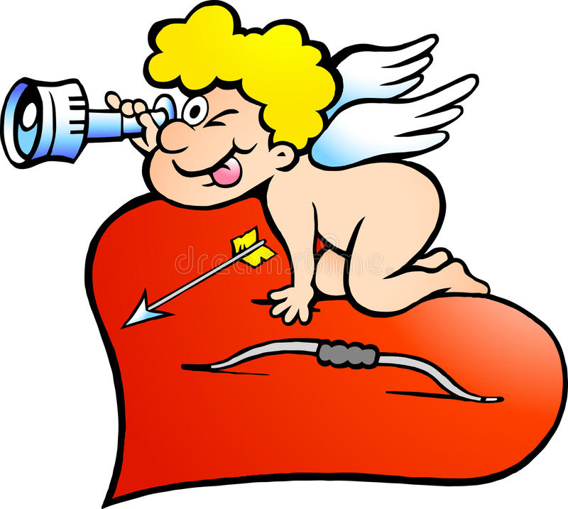 Download Illustration Of An Amor Angel Boy Looking For Stock Vector - Illustration of comic, humor: 22079712