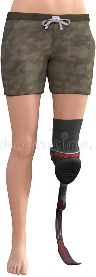 Prosthetic Leg Amputation, Amputee, Isolated. Illustration of an amputee woman with a prosthetic leg. The blade style is new technology and great for people who royalty free illustration