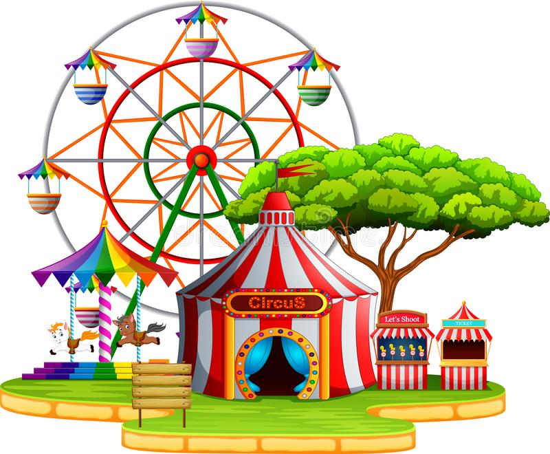 Amusement park scene at daytime. Illustration of Amusement park scene at daytime stock illustration