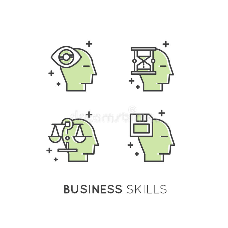 Illustration of Analytics, Management, Business Thinking Skill, Decision Making, Time Management, Memory, Sitemap, Brainstorming a. Vector Icon Style royalty free illustration