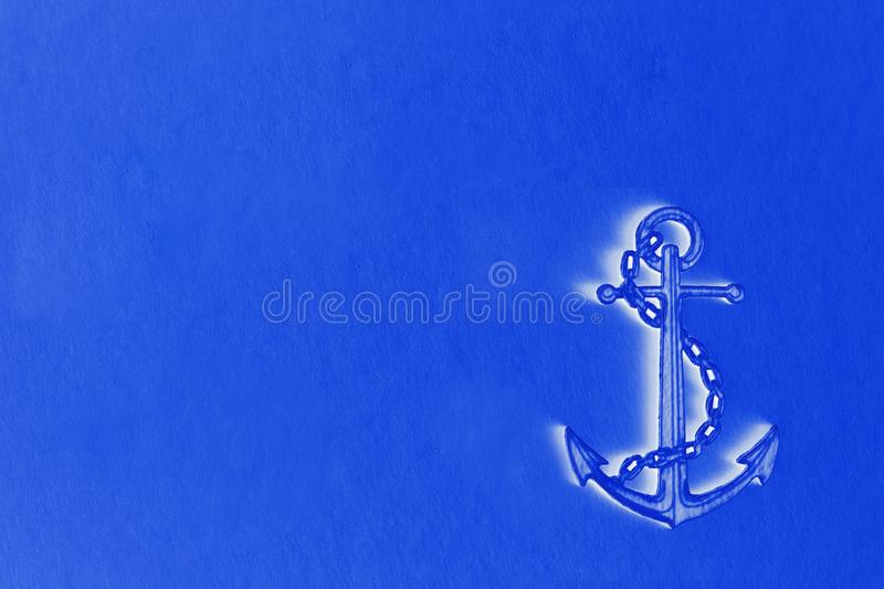 Illustration of anchor with edge on blue background lots of space for text vector illustration