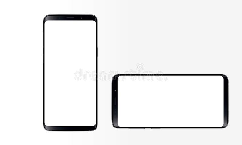 Android Mobile Phone. Illustration of android touch screen mobile phone latest model. stylish touch screen cellphone mock-up. Generic android touch screen cell royalty free illustration