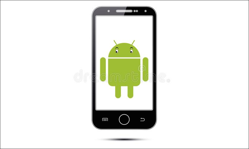 Android Mobile Phone. Illustration of android touch screen mobile phone latest model. stylish touch screen cellphone mock-up. Generic android touch screen cell stock illustration