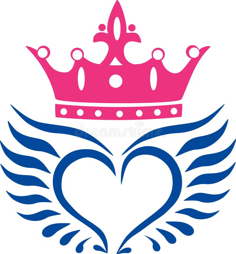 Angel wings with crown icon vector illustration